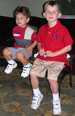 Cameron and Drew ready for the first morning of school